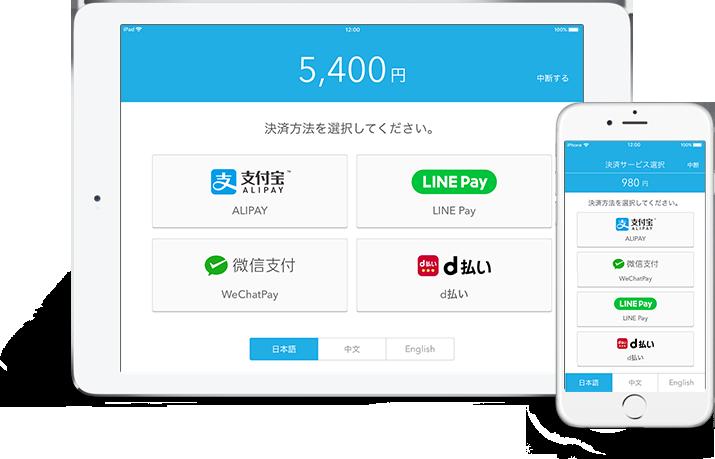 Alipay(アリペイ)などのQRコード決済(アプリ決済)にも対応可能