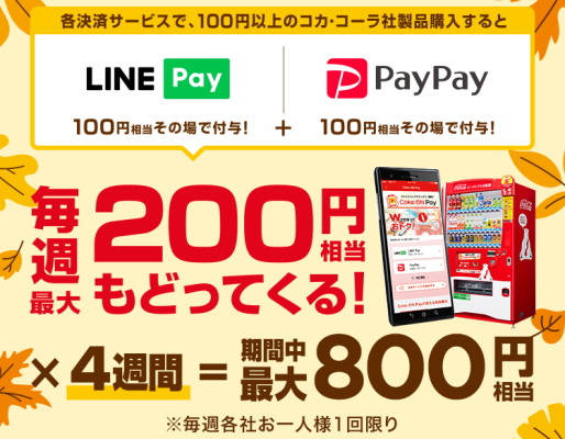コカ・コーラ自販機で!LINE PayとPayPayで「100円還元」!