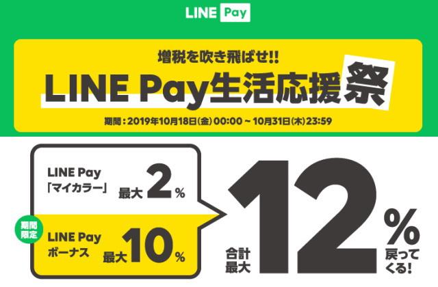 10/31まで!LINE Payコード支払いで最大12%!!