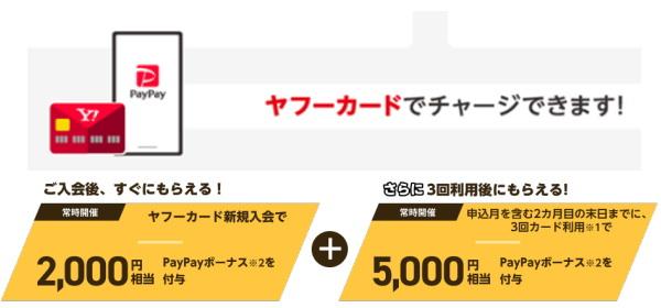 ヤフーカード新規入会特典は「PayPayボーナス2,000円と5,000円相当」!!