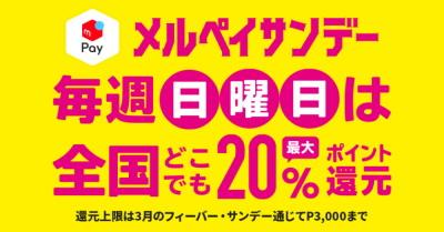 日曜日は全国のお店で「最大20%還元!メルペイサンデーキャンペーン」の詳細