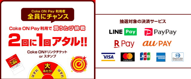 「Coke ON Pay」利用者全員にチャンス!