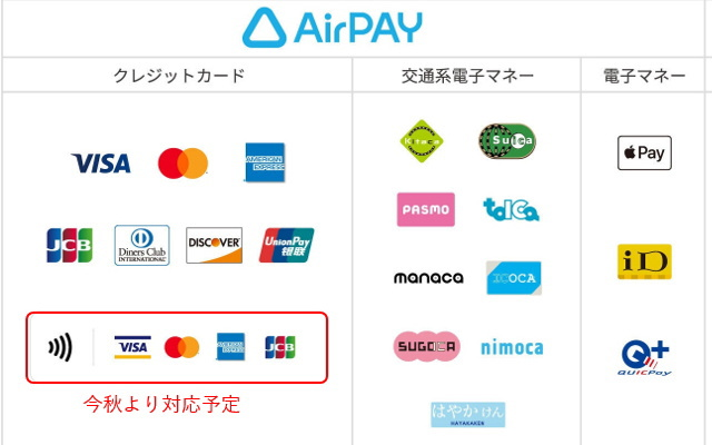 「Airペイ」も今秋よりクレジットカードのタッチ決済(NFC)に対応予定!