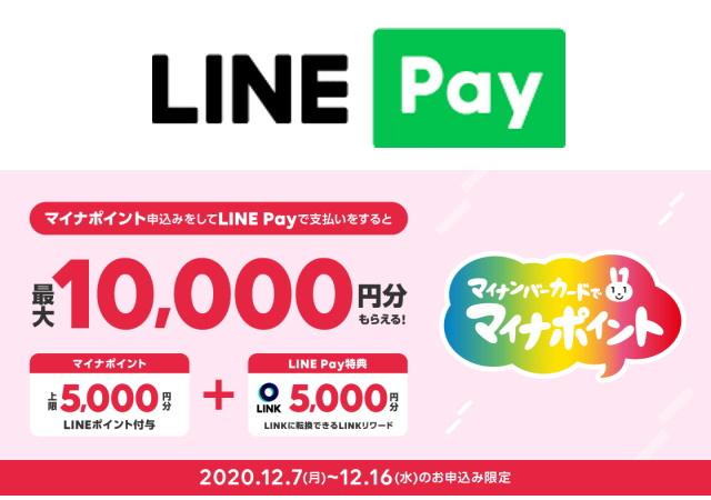 「LINE Pay」のマイナポイントは「最大5,000ポイント」に加え「仮想通貨」!