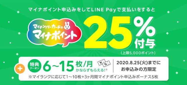 【LINE Pay】のマイナポイント事業は「最大5,000ポイント」に加え「特典クーポン」!