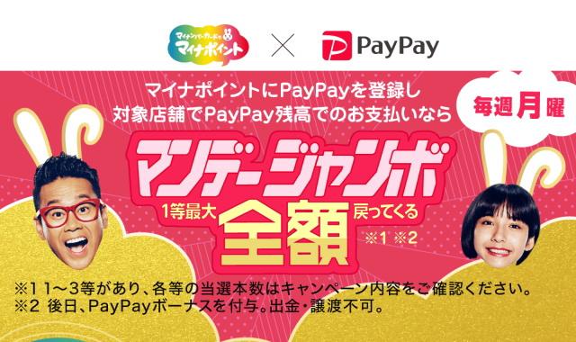 マイナポイントにPayPayを登録済みなら11/23~12/28の「毎週月曜」がお得!