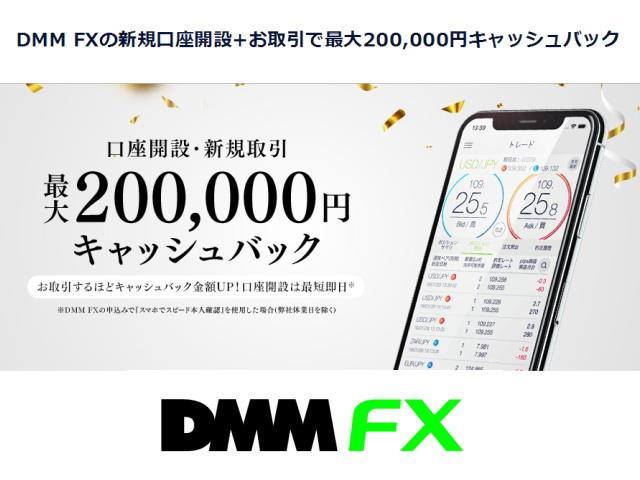 今DMM FXを始めると「新規口座開設と取引」で「最大20万円キャッシュバック」!